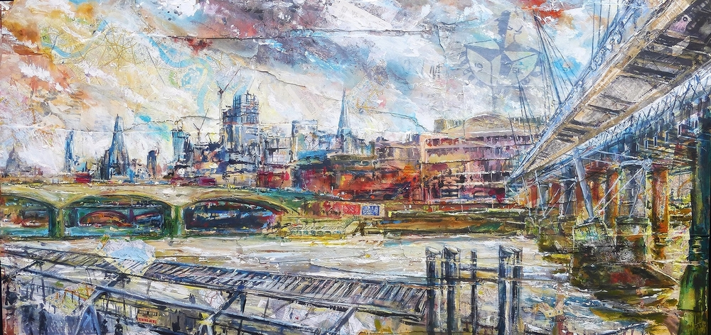 The South Bank and The Royal Festival Hall, Thames, London. Acrylic, photo-silkscreen and collage on wood.