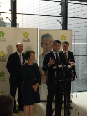 Associate Professor Peter Grimison, NSW Minister for Medical Research Pru Goward, Premier Mike Baird, and Tilray Global President Brendan Kennedy announce the partnership in Sydney, Australia on Feb 26.