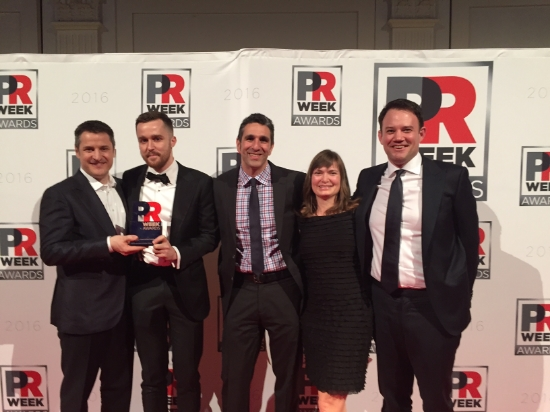 Members of the Privateer Holdings team celebrate their big win at the PRWeek Awards ceremony last week.