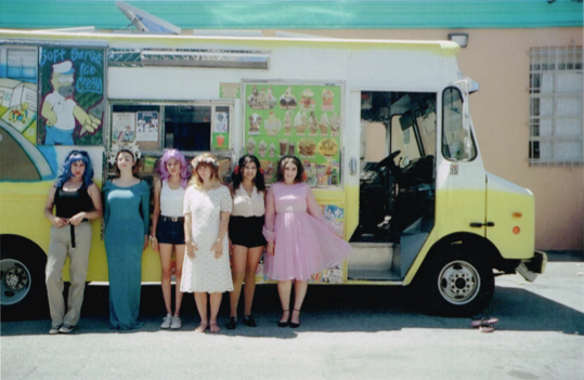 The Sad Girls all lined up for me once we wrapped at the Ice Cream Truck Depot. Shot on 35mm.