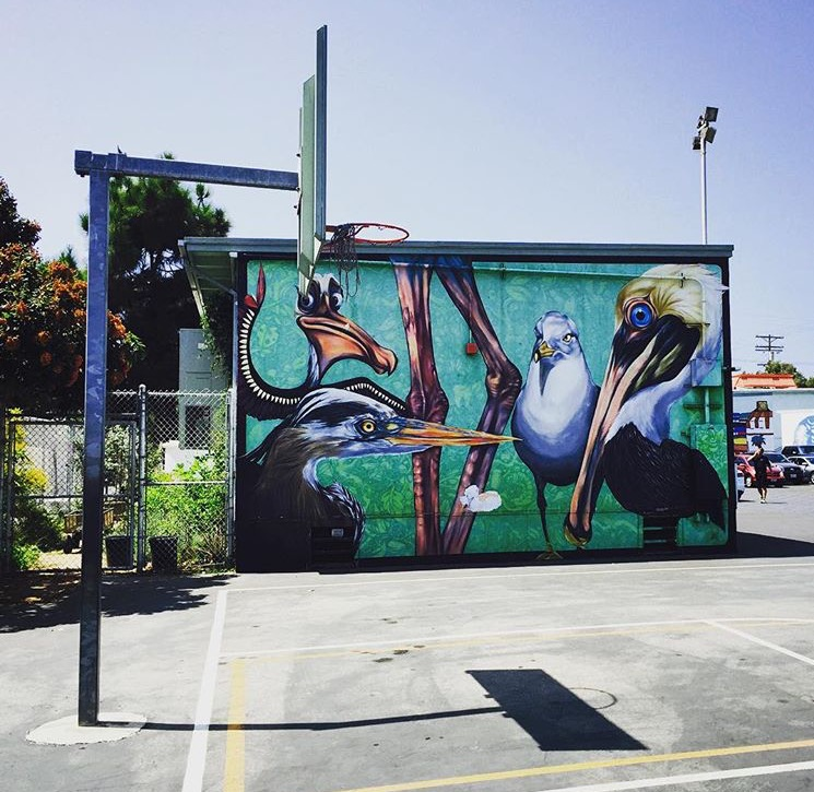 The beaches aren't the only beautiful thing in California, and Jay Greene showed us exactly that. Check out this fly mural in Venice, giving the backboard a backdrop that'll distract just about anyone.