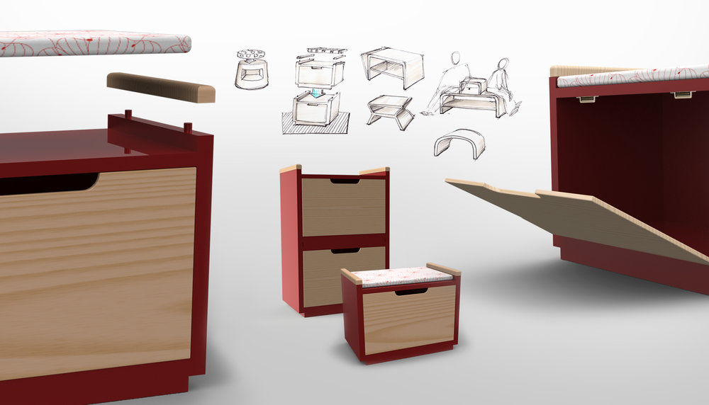 Stockbox  Flexible seating system with storage.