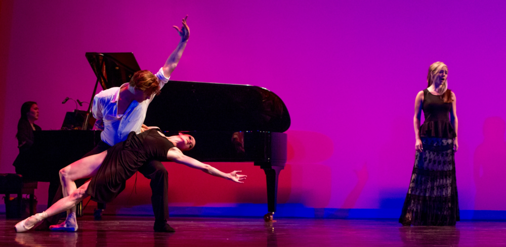 Corrie singing Kurt Weill with Avant Chamber ballet dancers Michelle Gifford and Shea Johnson with Saule Garcia at the piano, during the Soluna Festival  in the Dallas City Performance Hall.