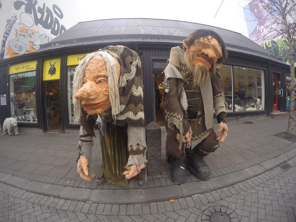 Trolls are a huge part of Icelandic Folklore and these two can be found on the main street