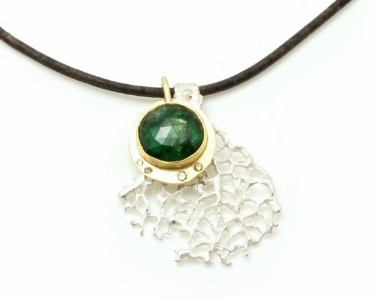 Sango Pendant, rose cut emerald, diamonds, silver cast coral, 18kyg, leather