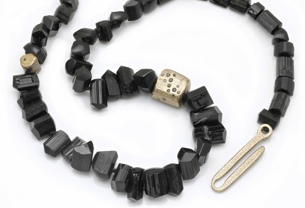 So Necklace, black tourmaline, black diamonds, bronze, 2013
