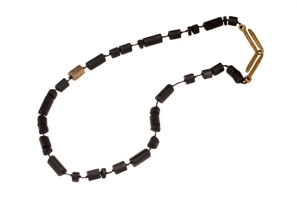 "April Higashi, Matte Black Onyx and Bronze with Black Diamond Bead Necklace, 2015, black onyx, bronze, black diamonds, 19"", photo: Shibumi Gallery"