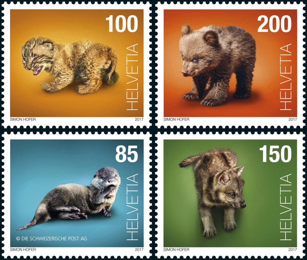 Die Post, 4 Sonderbriefmarken für das Thema Tierbabies