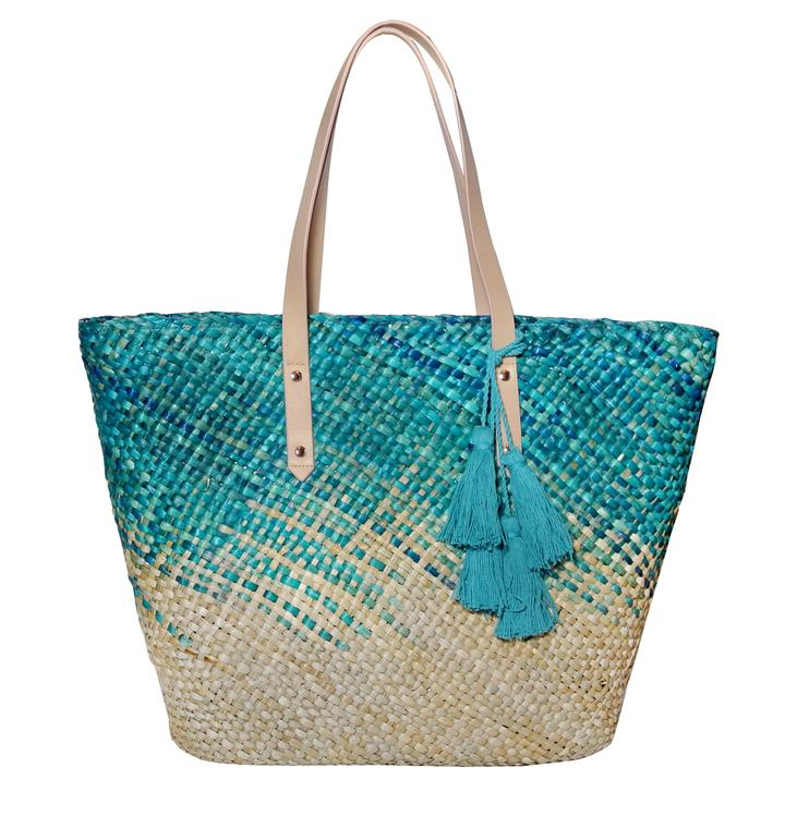 Natural Seagrass Market Tote in Hawaiian Ocean - $79