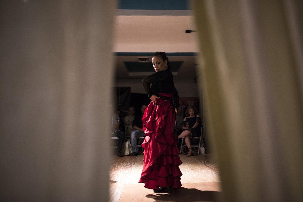 Valeria Montes spins around during her solo dance Saturday night at Casa Flamenca in Albuquerque, New Mexico.