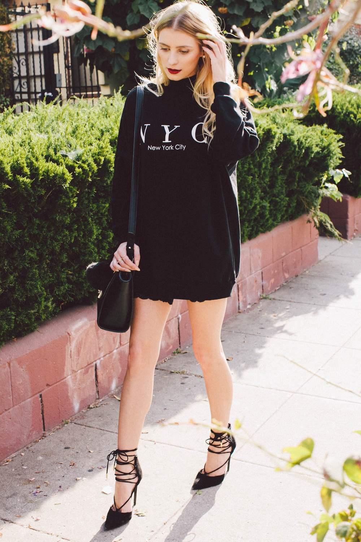 Sweatshirt Dress: H&M, Biker Shorts: H&M, Bag: Forever 21, Shoes: Shoe Republic LA from Eden Sky, Keychain: Eden Sky, Rings: Asos