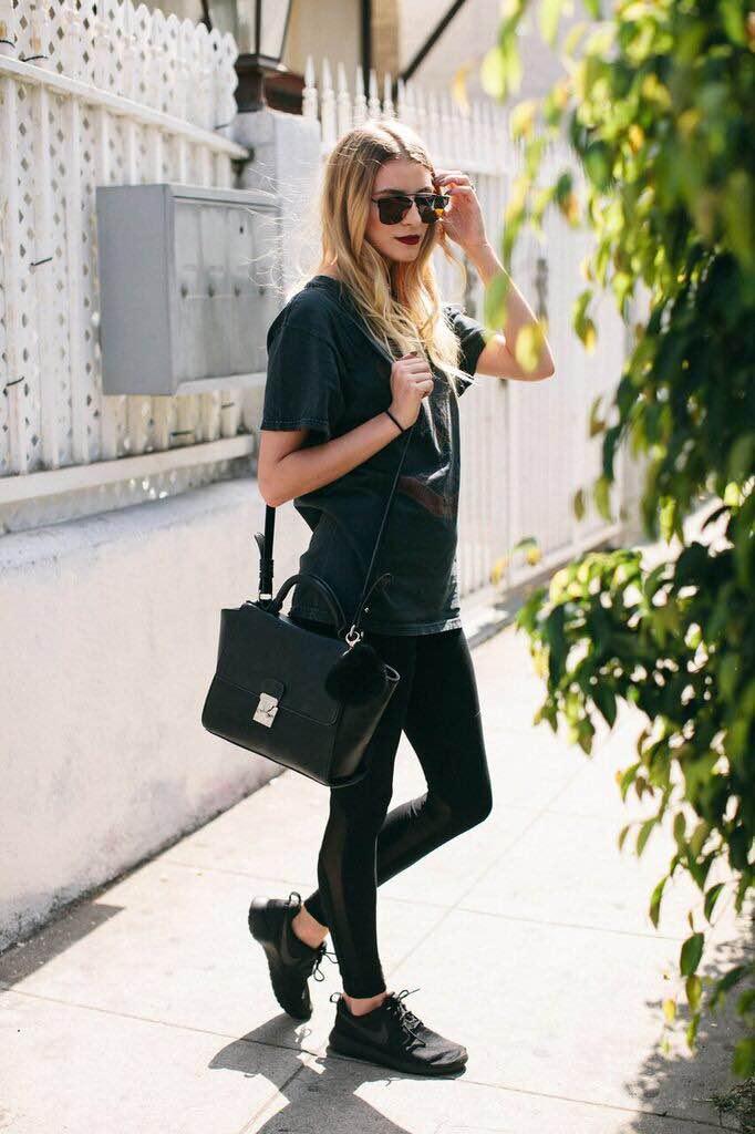 T-Shirt: Brandy Melville, Leggings: Forever 21, Shoes: Nike, Bag: Forever 21, Keychain: Eden Sky, Sunnies: Eden Sky, Ring: Forever 21