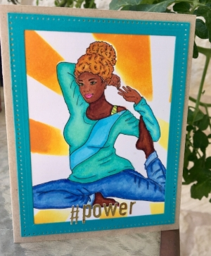 #power card made on Fun Stampers Journey Oatmeal, die cut made on Fun Stampers Journey cardstock in Pool Play, Colored with Copics on Neenah Solar White, Power cut out with Cricut on Minc foil.