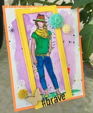 #brave, Made on Ranger heavyweight watercolor paper colored with Colorburst watercolors.   Die cut in sour lemon, and orange crush cardstock from Fun Stampers Journey.  Fun Stampers Rectangular stitched dies for the frame, and embellishments from Basic Grey's Grand Bazaar.