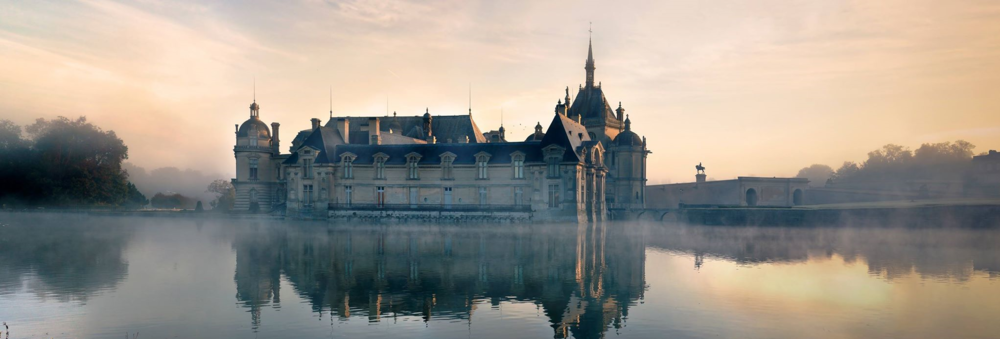 This stunning chateau is the Domain de Chantilly in France.  I have been there several times and this property is one that I will visit every time I travel near the central part of the country and have an extra afternoon to spend with them!
