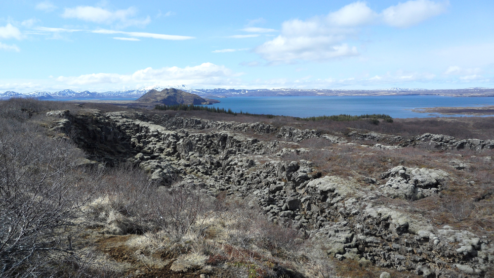 On Patrick's wish list: to see a crack in the earth, caused by the widening gap between the spread of tectonic plates in Þingvellir. This wasn't The Crack ... but it was  a  crack caused by the same phenomenon.