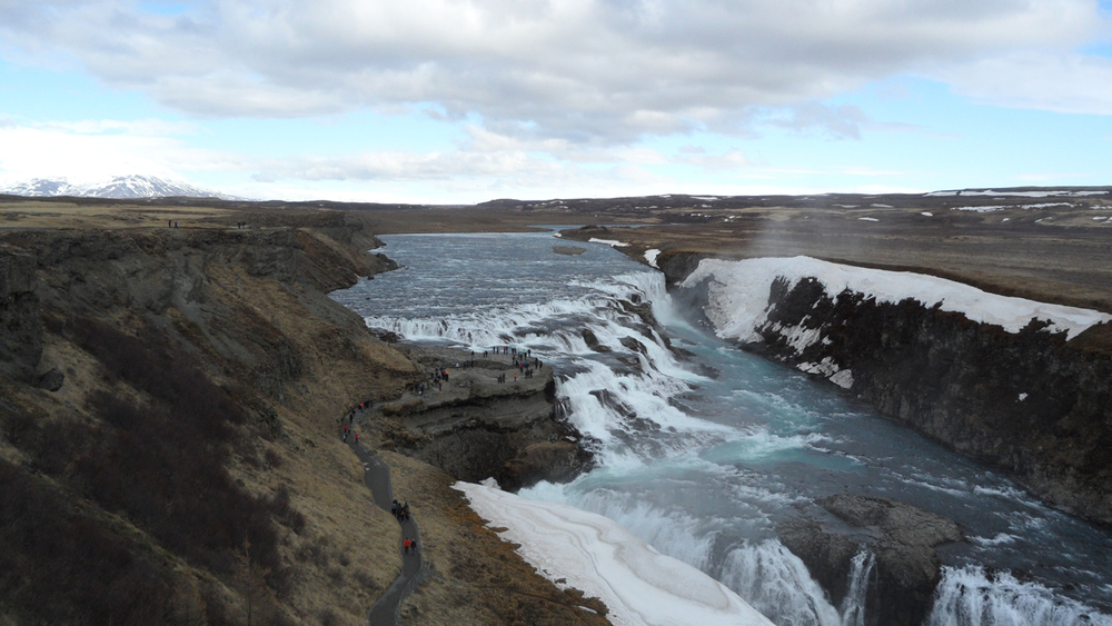As we drove toward Gulfoss, we didn't realize that both forks of the road lead to the waterfall. We thought we'd taken the wrong one ... then were presented with basically this view.