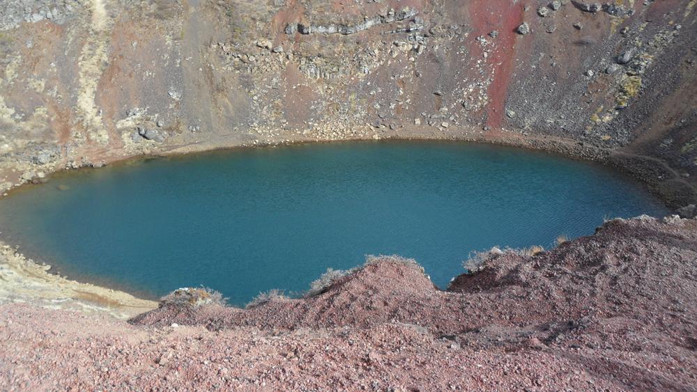 Kerið, a volcanic crater lake.