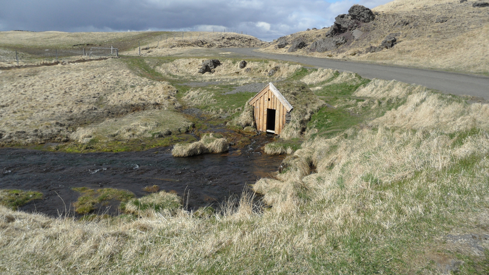 A little outbuilding visible from Keldur, a collection of historic sod buildings.
