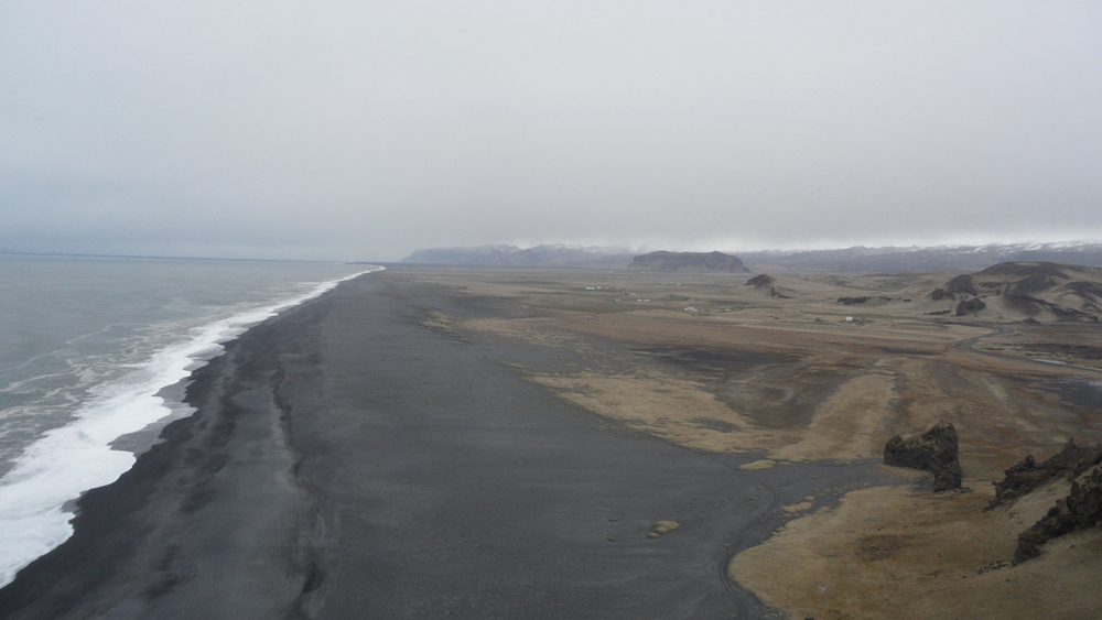 The black sand beach of Reynisfjara from above.