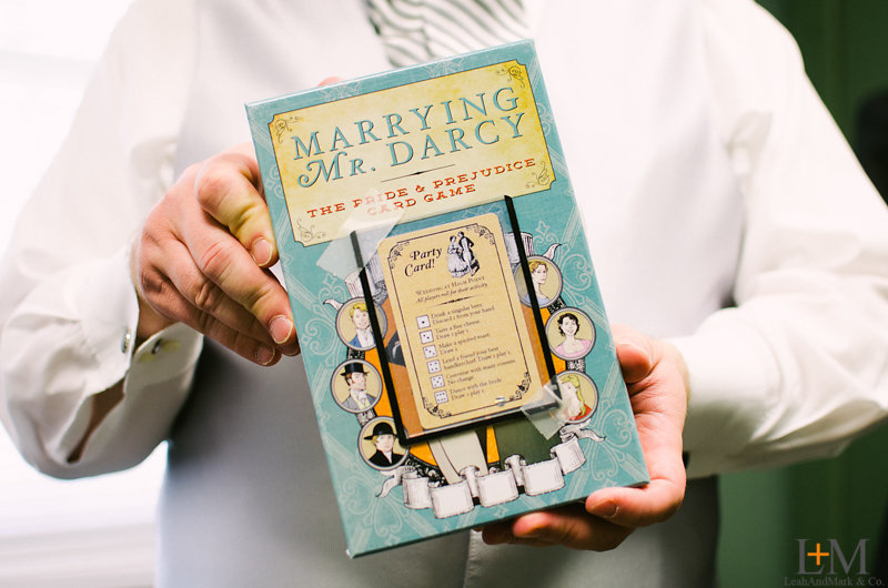 "Attendant gifts: "" Marrying Mr. Darcy "" with a custom card for our wedding from their ""Emma"" Kickstarter expansion."