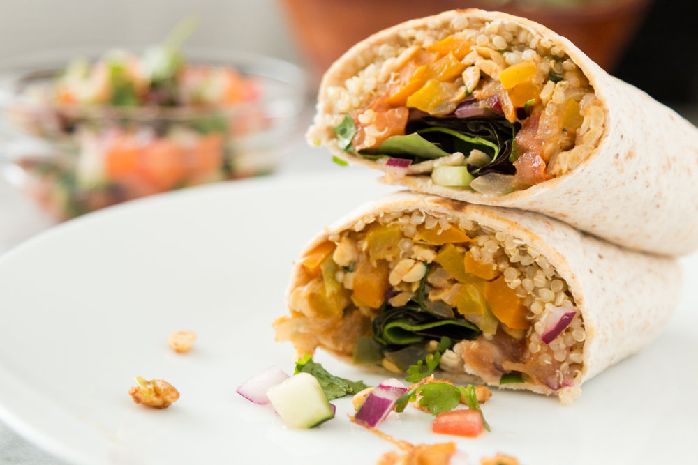 Tempeh Fajita Burritos which includes iron-rich plant foods ( get the recipe here )