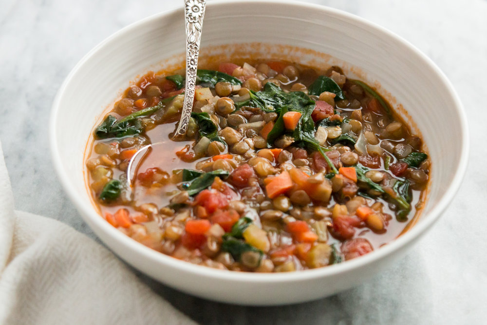 Spicy Spinach Lentil Soup