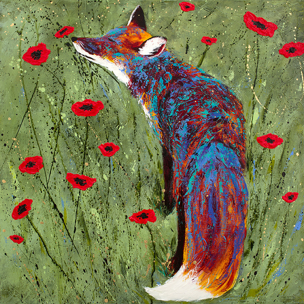 Fox and Poppies-SOLD