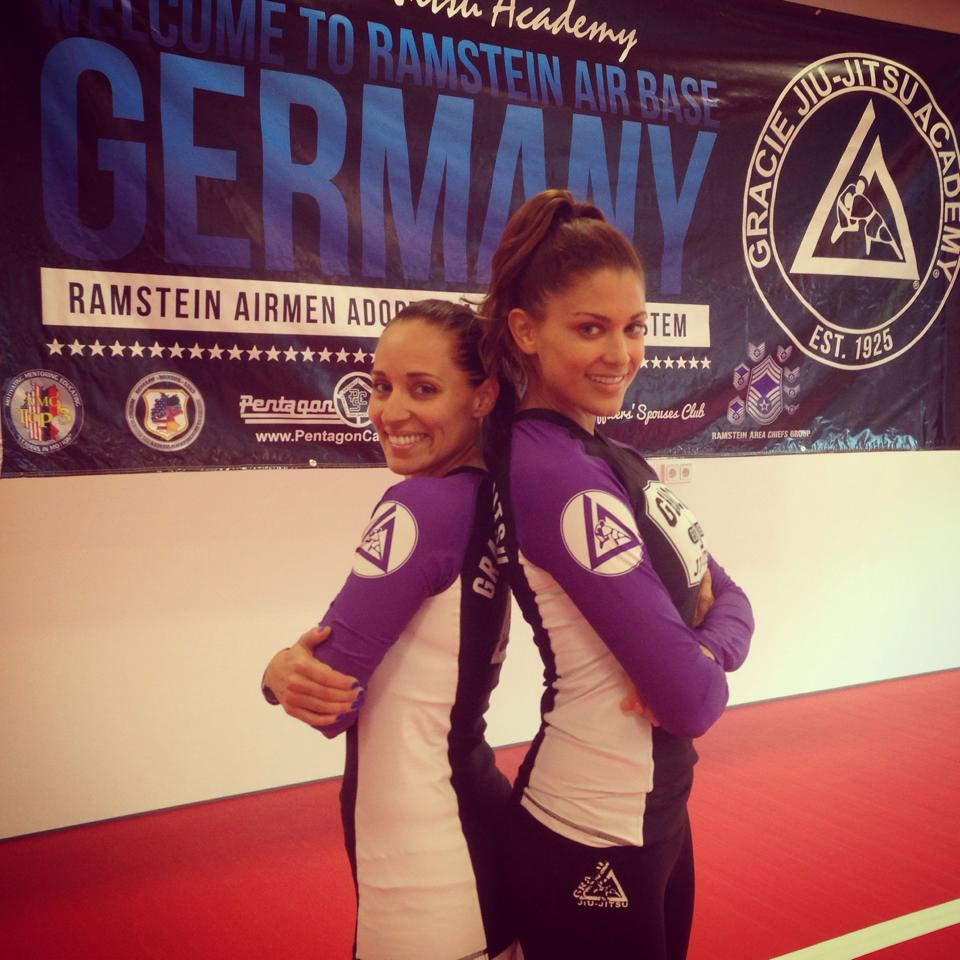 Angela Maria Nardolillo  and Women Empowered Head Instructor  Eve Torres Gracie  instructing at Ramstein Airforce Base in Germany (2014).