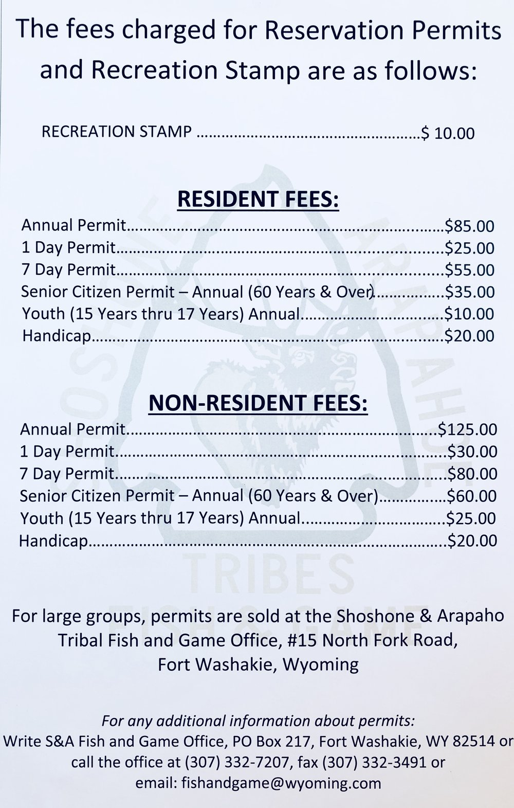 Wind River Indian Reservation Fishing Permit and Recreation Stamp Fees for 2018