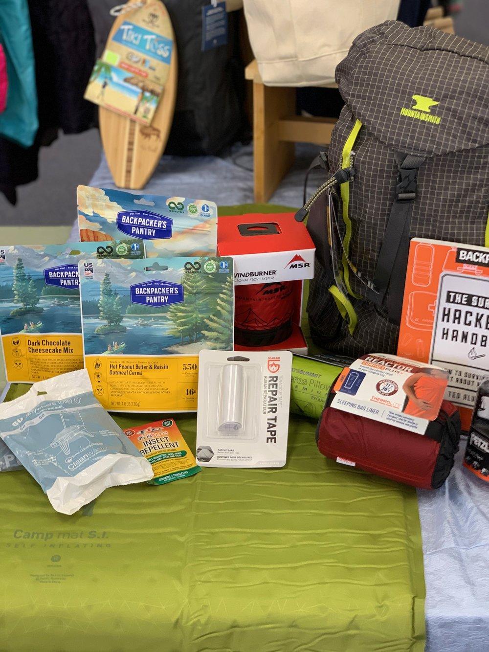 RAFFLE PRIZE #1 - Camping - MSR Windburner Stove: $150Mountainsmith Scream 25 Backpack: $80Sea to Summit Camp Pad SI: $70Sea to Summit Reactor Liner: $65Sea to Summit Aeros Pillow: $43Petzl Reactik Headlamp: $90Survival Hacker Handbook: $30Backpacker Pantry Meals: $20Gear Aid Repair Tape: $5Total Approximate Retail Value: $550
