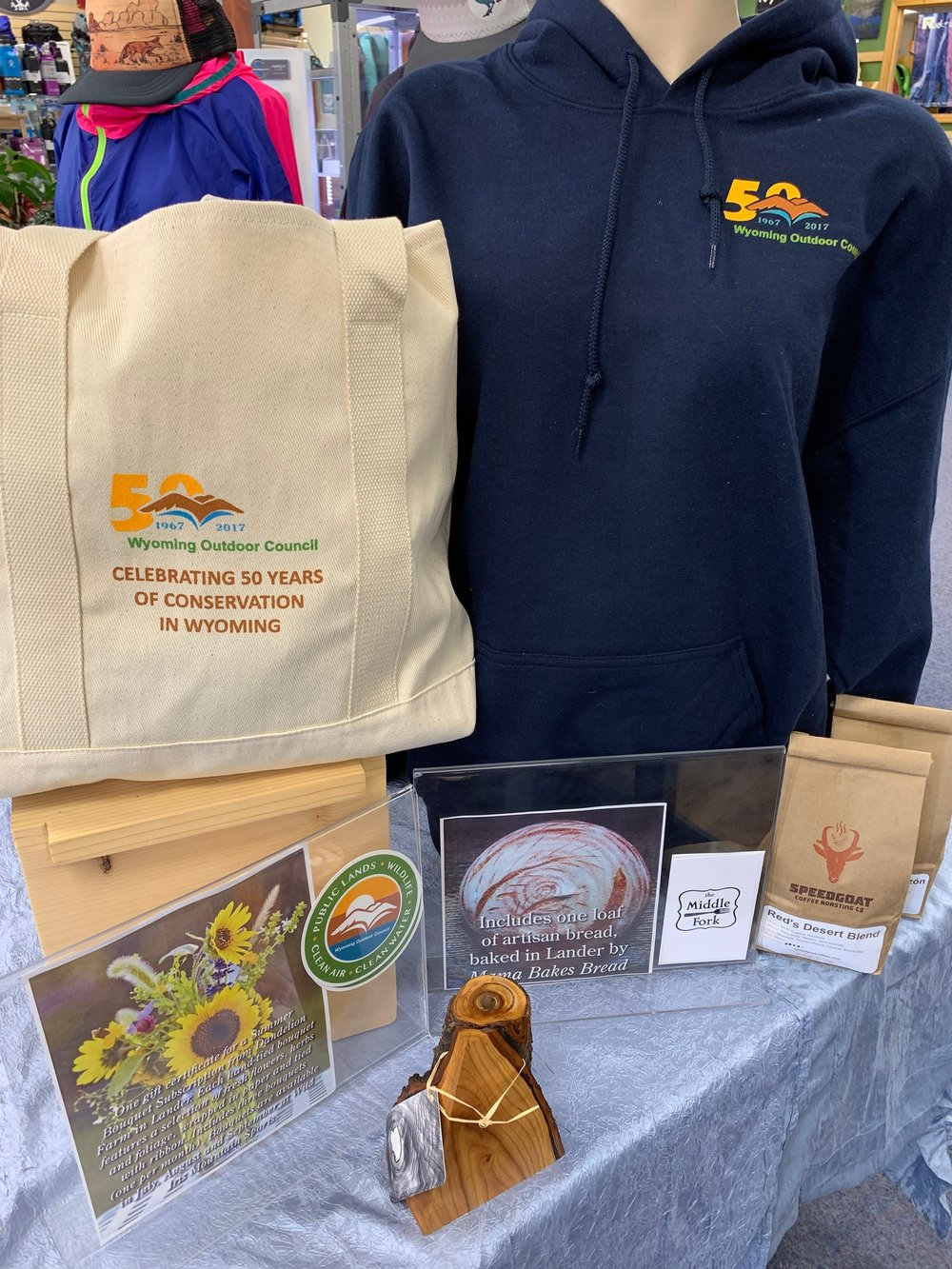 RAFFLE PRIZE #4 - Lander Locals - Wabi Sabi Woodworks Wood VaseWyoming Outdoor Council Hoody: $50Wyoming Outdoor Council Tote: $25Speedgoat Coffee 2 lbs: $30Middle Fork Restaurant Gift Card: $40Dandelion Farms Flower SubscriptionMama Bakes Bread Coupon