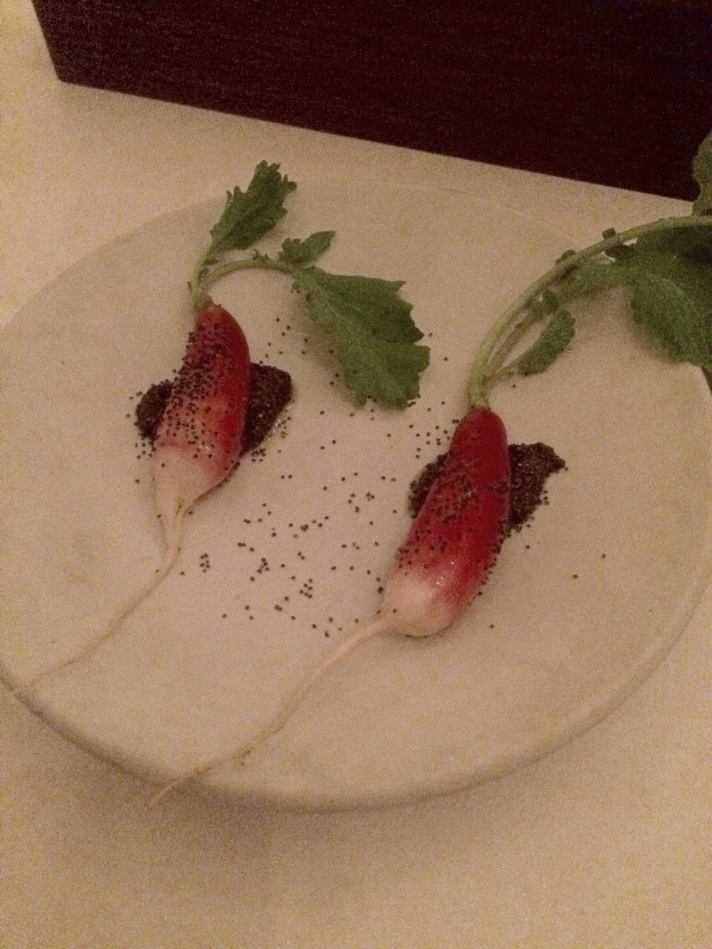 Flea beetle radish with fresh poppy seeds.