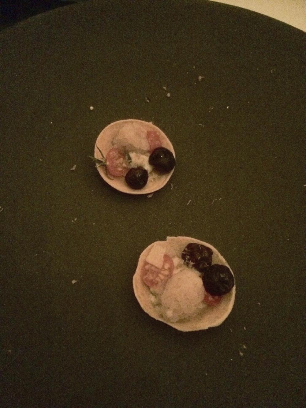 Blueberry tomato torte.