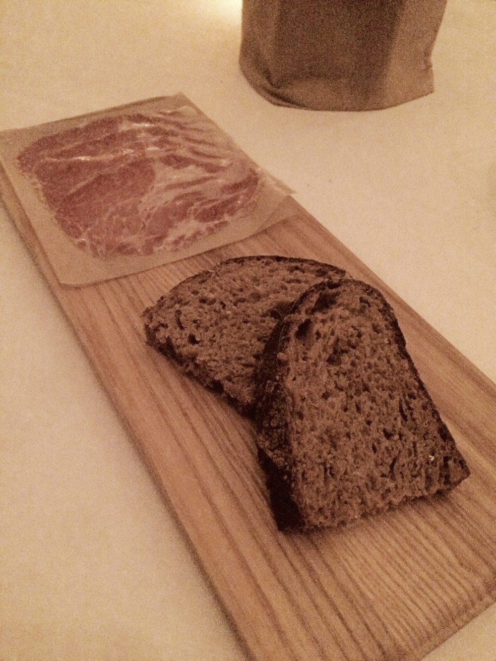Coppa with sprouted grain bread.