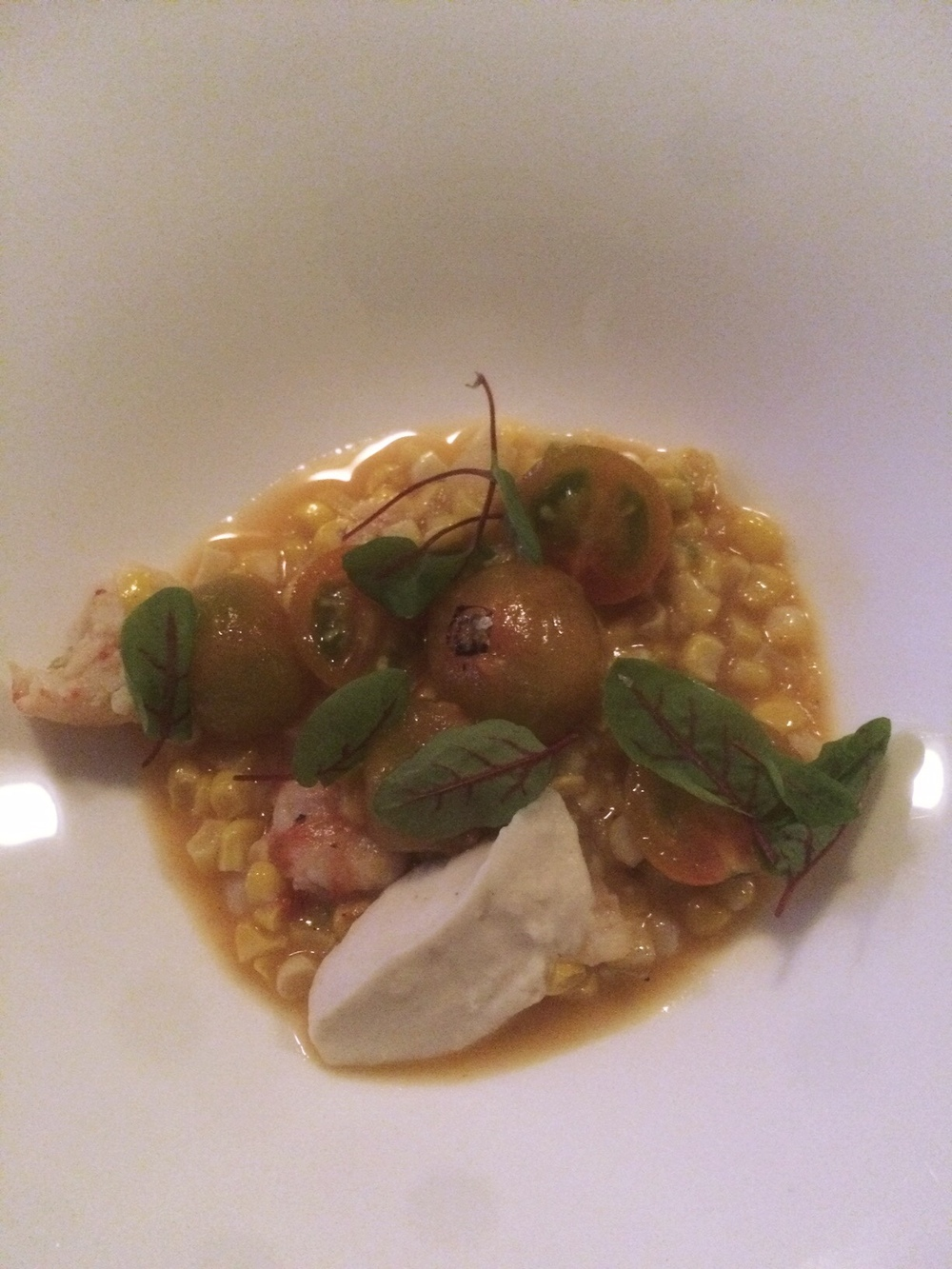 Corn and poached rock shrimp.