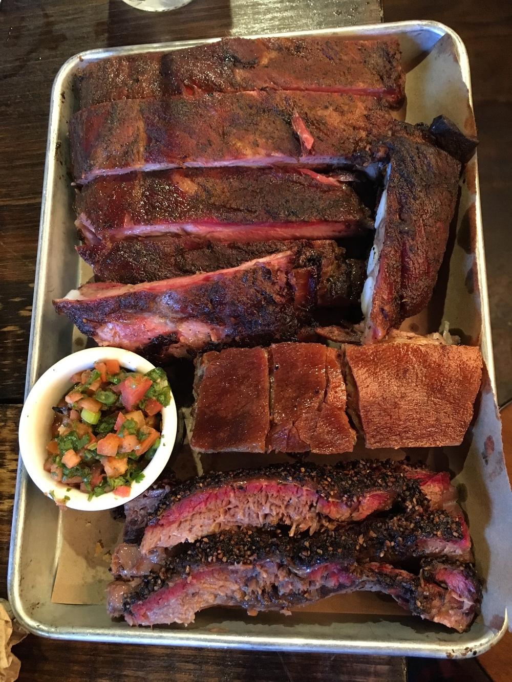 Beef Ribs $28/lb / Cracklin' Pork Belly $12 / Brisket $12