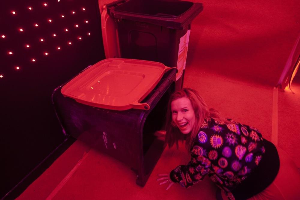 Kirsha Kaechele ntering the Infinite Drop Room, Photo by Remi Chauvin 2016