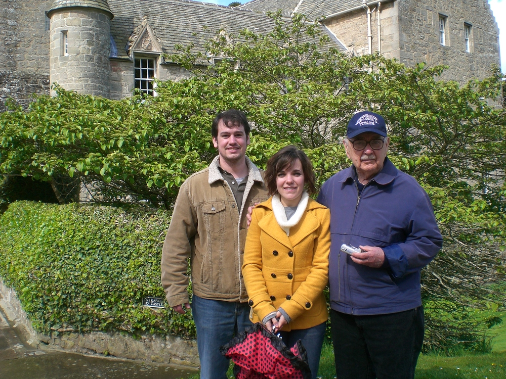 The Author w granddaughter Margaret and her husand Tim at MacBeth Castle in Scotland.JPG