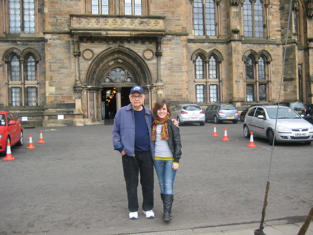 The Author with Grand-daughter Margaret at University of Glasgow.JPG
