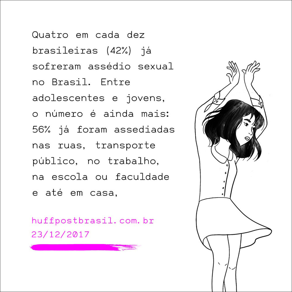 """""""Four in every ten women (42%) have been sexually harassed in Brazil. Among teenagers and young women the numbers go up to 56% that have been harassed on the streets, in public transportation or at home""""."""