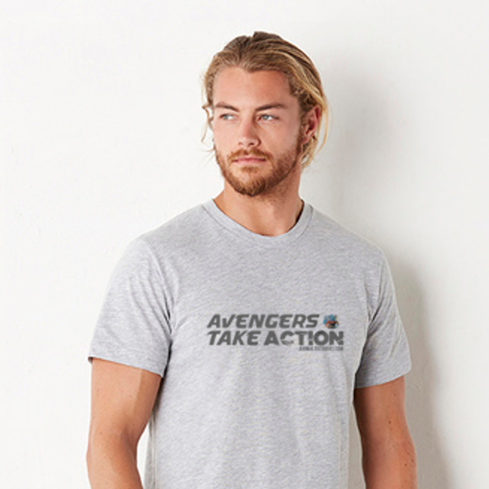 UNISEX HEATHER GREY AVENGERS TEE 100% SOFTSTYLE COTTON. SEMI-FITTED. SIDE SEAM CONSTRUCTION. SHOULDER-TO-SHOULDER TAPE AND 1.5CM SEAMED COLLAR. SINGLE-NEEDLE TOP STITCHED FRONT NECK. TWIN-NEEDLE SLEEVE AND BOTTOM HEM. £5/$8 DONATED TO ANIMAL AVENGERS