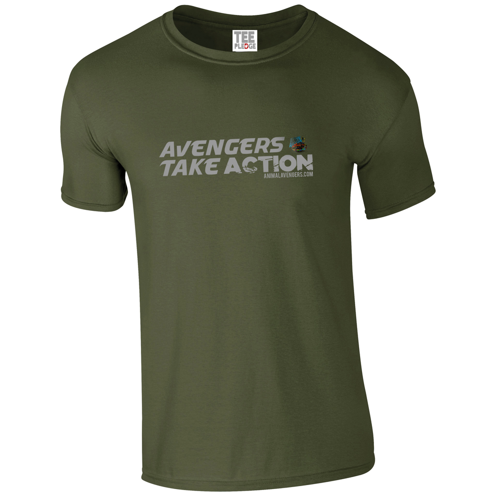 UNISEX MILITARY GREEN AVENGERS TEE 100% Softstyle cotton. Semi-fitted. Side seam construction. Shoulder-to-shoulder tape and 1.5cm seamed collar. Single-needle top stitched front neck. Twin-needle sleeve and bottom hem. £5/$8 Donated to Animal Avengers