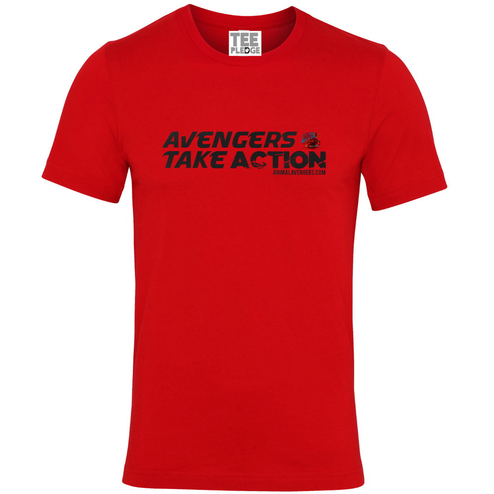 UNISEX RED AVENGERS TEE *Best-selling premium jersey basics. 100% Combed and ringspun cotton. 30 single. Athletic Heather: 90% Combed and ringspun cotton, 10% Polyester. Dark Heather Grey: 52% Combed and ringspun cotton, 48% Polyester £5/$8 Donated to Animal Avengers