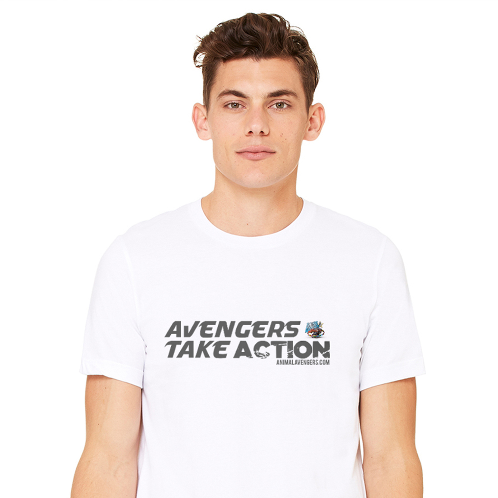 UNISEX WHITE AVENGERS TEE 100% SOFTSTYLE COTTON. SEMI-FITTED. SIDE SEAM CONSTRUCTION. SHOULDER-TO-SHOULDER TAPE AND 1.5CM SEAMED COLLAR. SINGLE-NEEDLE TOP STITCHED FRONT NECK. TWIN-NEEDLE SLEEVE AND BOTTOM HEM. £5/$8 DONATED TO ANIMAL AVENGERS