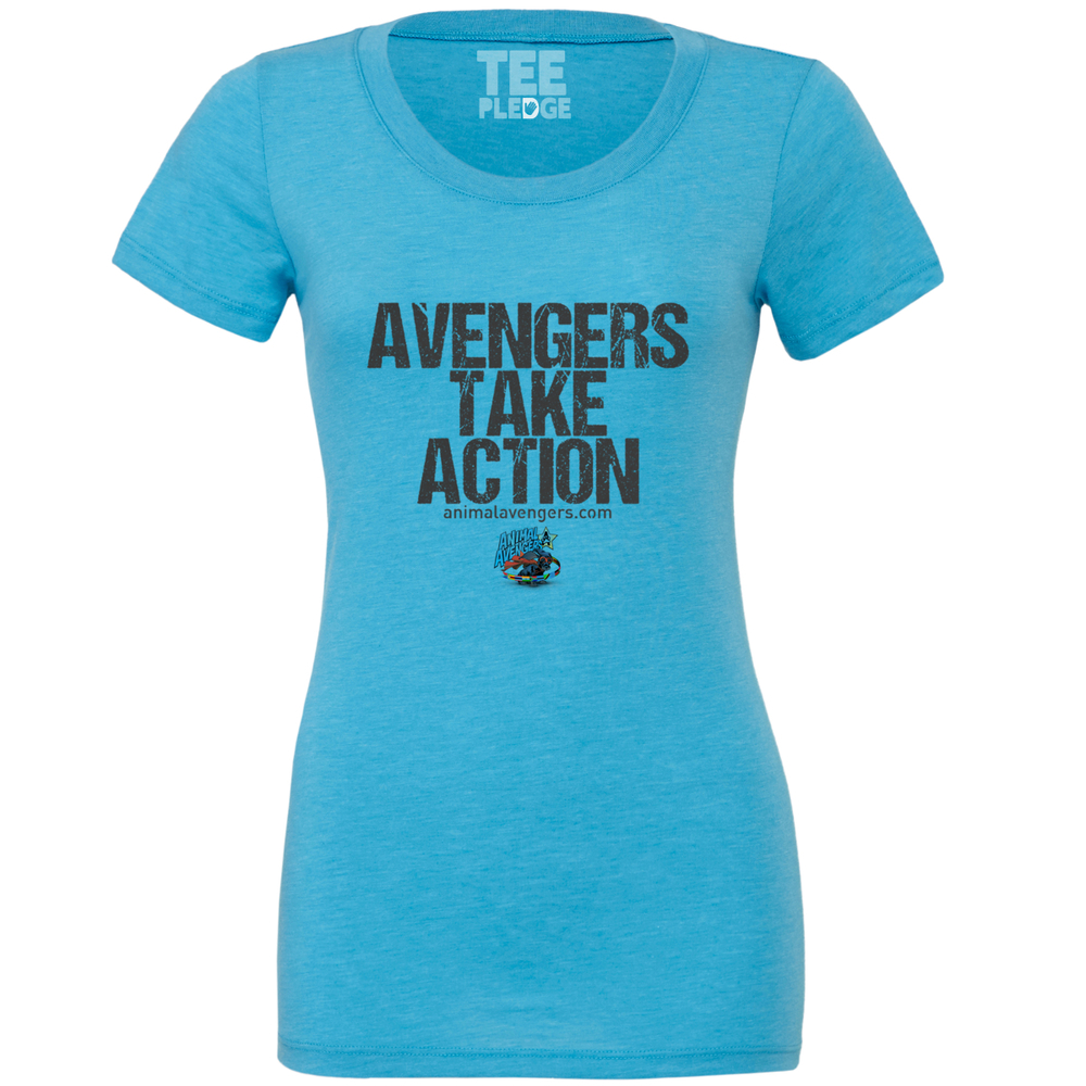 LADIES FITTED AQUA BLUE AVENGERS TEE Triblend Collection - Signature softness    Side seamed    Longer body length    Retail fit 50% Polyester, 25% Combed and ringspun cotton, 25% Rayon. 40 single Weight 150gsm £5/$8 DONATED TO ANIMAL AVENGERS