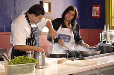 Nina Wadia and Cyrus Todiwala cooking up a storm