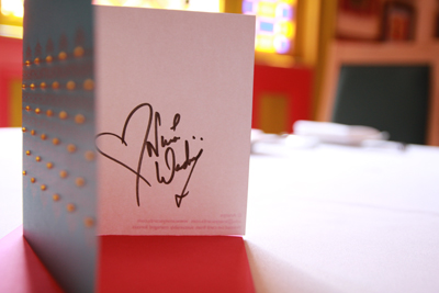Nina Wadia signed Ananya greeting card