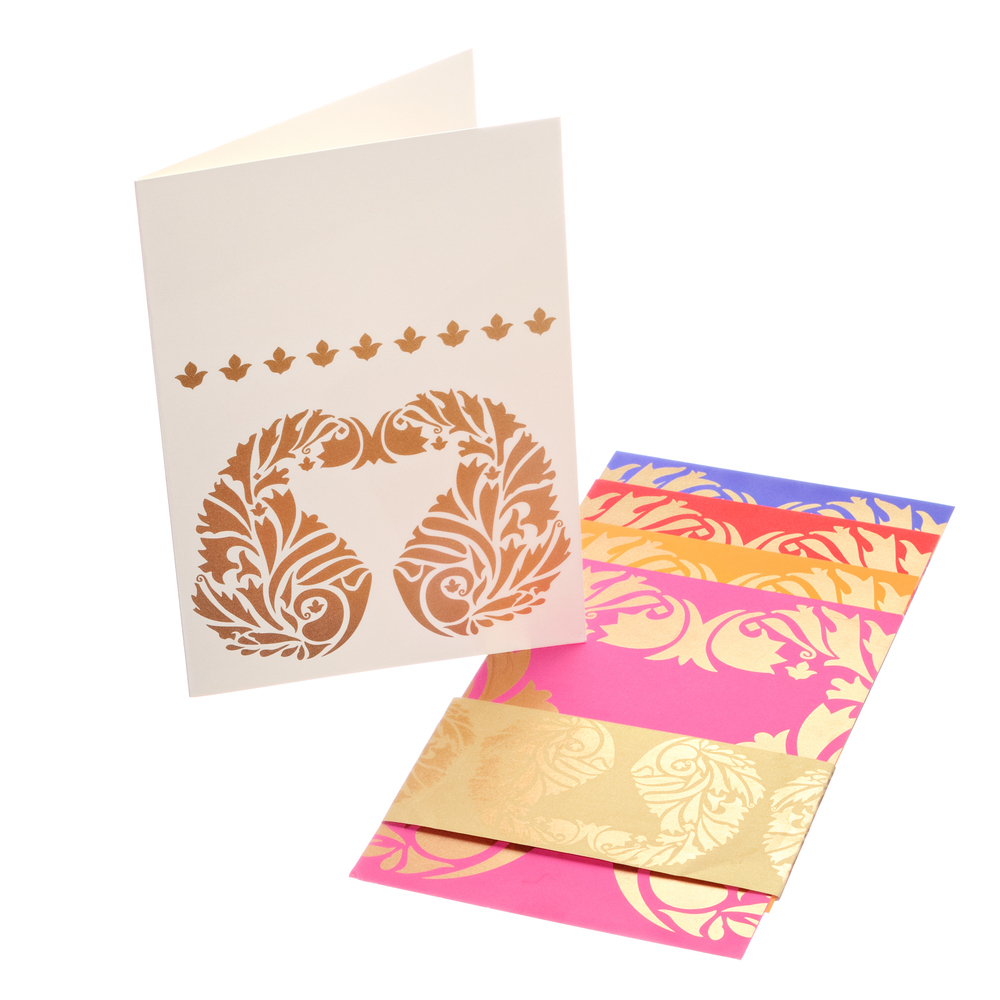 Golden Paisley greeting card by Ananya
