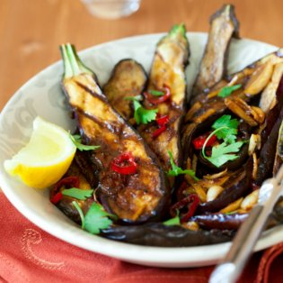 Caraway Roasted Aubergines dish